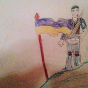 Ukrainian soldier, child's drawing