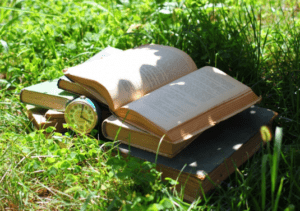 Books in garden